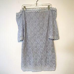 UMGEE SILVER CROCHET STRAPLESS DRESS